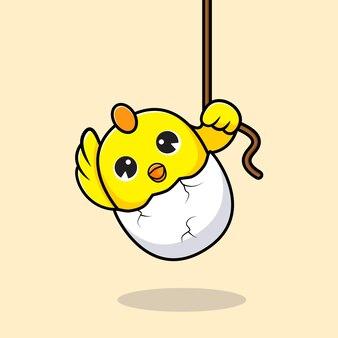 귀여운 병아리 노란색에 고립 된 밧줄에 잡아