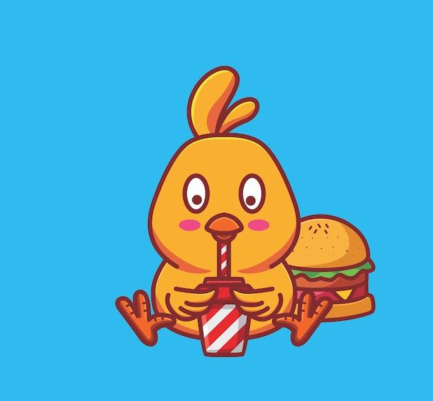 チーズバーガーを食べて、ソーダコーラを飲む空腹のかわいいひよこ。動物フラット漫画スタイルイラストアイコンプレミアムベクトルロゴマスコットウェブデザインバナーキャラクターに適しています