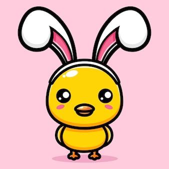 토끼 귀 액세서리를 입고 귀여운 병아리