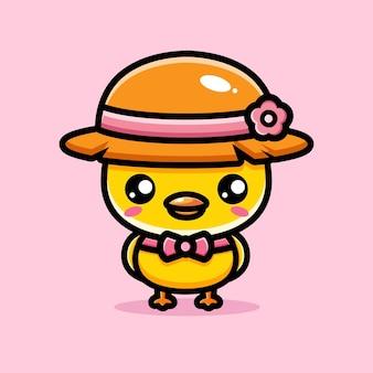 Cute chicks wearing straw hats