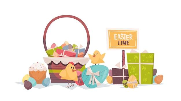 飾られた卵バスケットとギフト幸せなイースター春の休日の構成グリーティングカードポスター水平イラストとかわいいひよこ