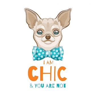 귀여운 치와와 강아지. 티셔츠 인쇄, 포스터, 카트 디자인을위한 낙서 스케치.