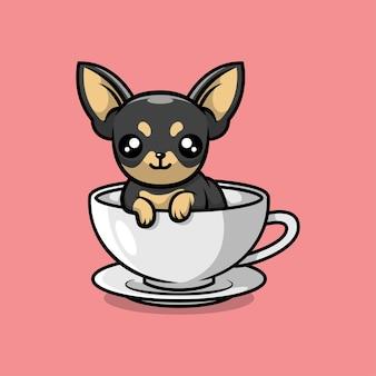 Симпатичный чихуахуа в иллюстрации шаржа чайного стакана бесплатные векторы