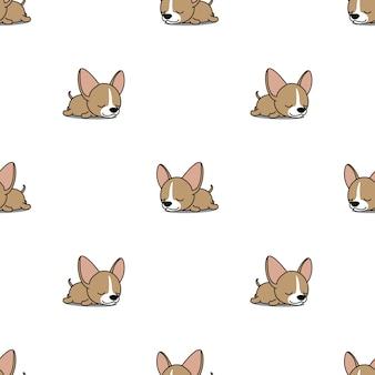 かわいいチワワ子犬の睡眠シームレスパターン