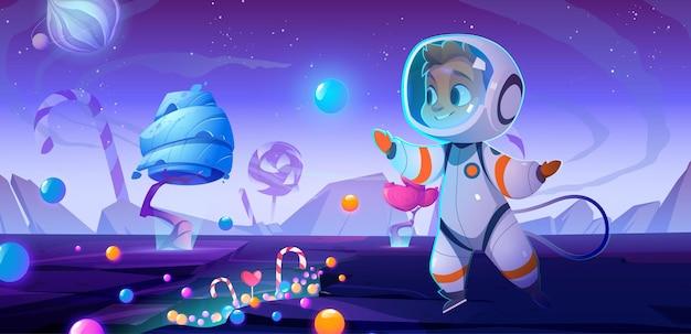 Simpatico astronauta bambino su un pianeta alieno con dolci e caramelle intorno alla festa di compleanno della festa spaziale...