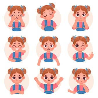 Cute child girl avatar facial emotions and feelings. little kid face emoji with angry, sad, happy, shock and question expression vector set. illustration child emotion face avatar, facial expression