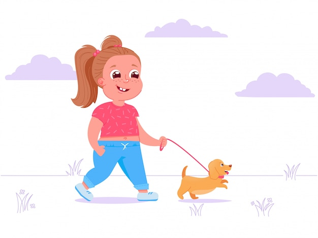 Cute child girl character walks dog