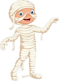 Cute child in a halloween mummy costume