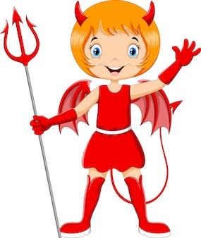 Милый ребенок в костюме дьявола на хэллоуин