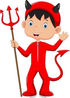 ハロウィーンの悪魔の衣装でかわいい子供