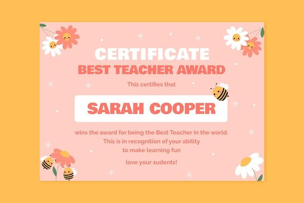 Modello di certificato di insegnante di ape-st carino simile a un bambino