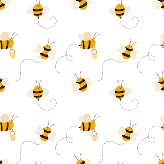 Cute child seamless hand drawn pattern with flying bees. vector scandinavian baby illustration summer