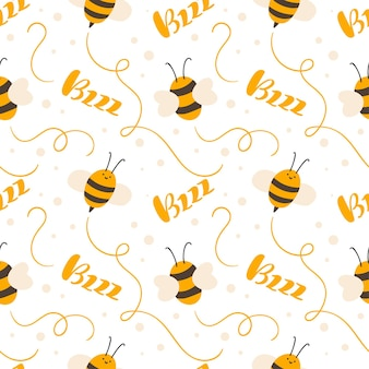 Симпатичный ребенок бесшовные рисованной узор с летающей детской пчелой и каллиграфическим текстом bzzz. вектор скандинавский