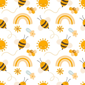 Cute child seamless hand drawn pattern with flying kid bees and rainbow and flowers. vector scandinavian illustration