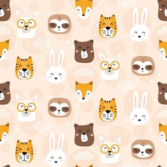Cute childish animal characters seamless pattern