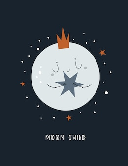 Cute childish cartoon baby moon in crown with star