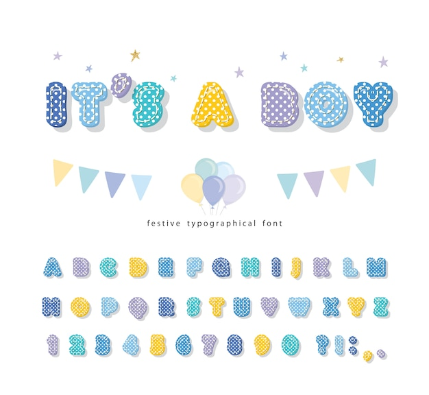 Cute childish font with polka dots