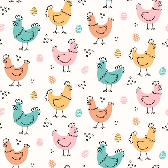 Cute childish hens and eggs pattern for easter