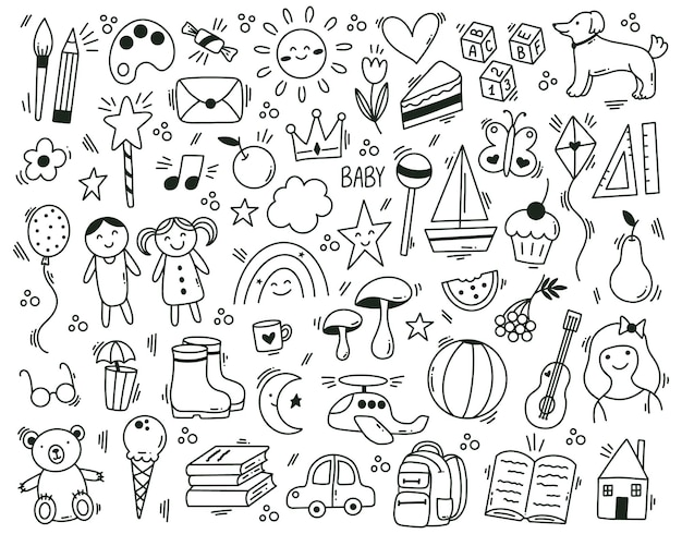 Cute childish kindergarten hand drawn doodle elements. funny hand drawn children learn and play vector symbols set. doodle baby icons
