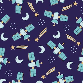 Cute childish seamless pattern of space elements, moon, star, space station. cartoon kids style.