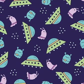 Cute childish seamless pattern of space elements, ufo, planet, alien. hand drawn cartoon kids style