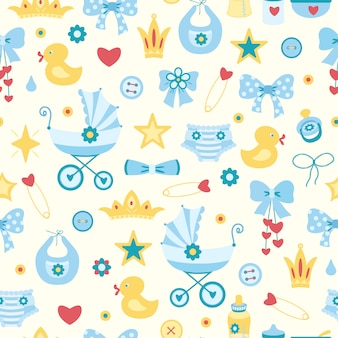 Cute childish seamless pattern with baby girl things. diaper, carriage, stroller, pin,