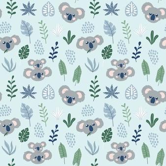 Cute childish seamless pattern with koalas.