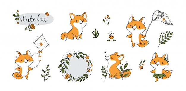 Cute childish set with baby animal. little fox summer holiday collection
