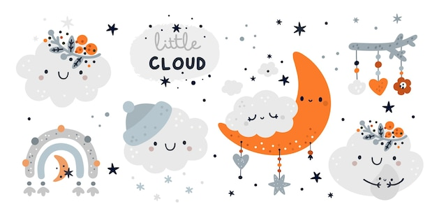 Cute childish set with cartoon little cloud and kids decoration elements. milestone collection