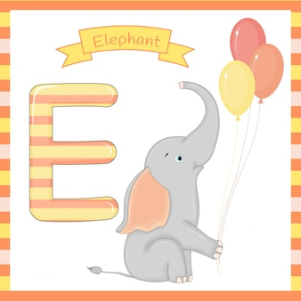 Cute children abc animal alphabet e flashcard of elephant for kids learning english vocabulary