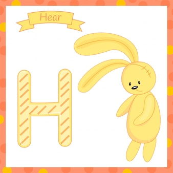 Cute children abc animal zoo alphabet h letter hare