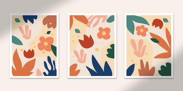 귀여운 어린이 추상 포스터 아트 손으로 그린 모양은 벽 인쇄 장식을 위한 세트 컬렉션을 커버합니다