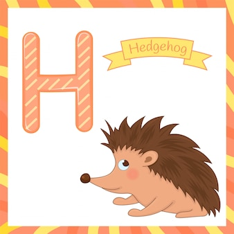 Cute children animal alphabet h letter flashcard of hedgehog for kids learning english vocabulary.