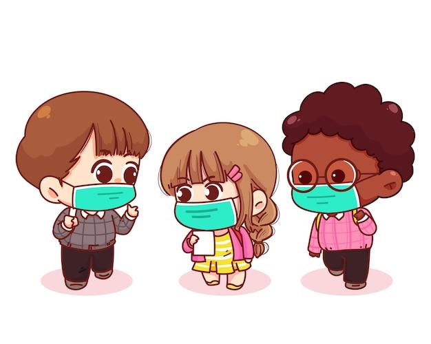 Симпатичные дети возвращаются в школу с иллюстрацией шаржа медицинских масок