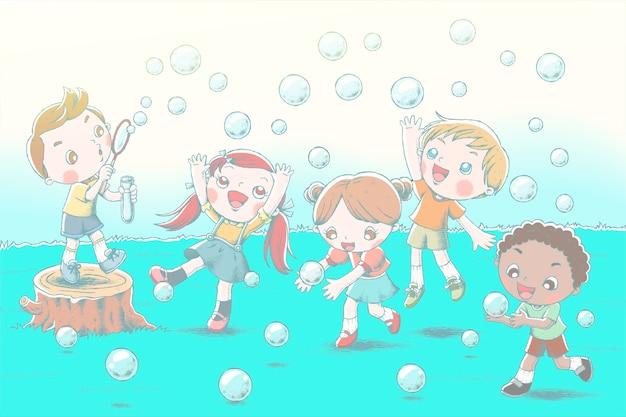 Симпатичные дети пускают мыльные пузыри и показывают счастливое выражение на лугах