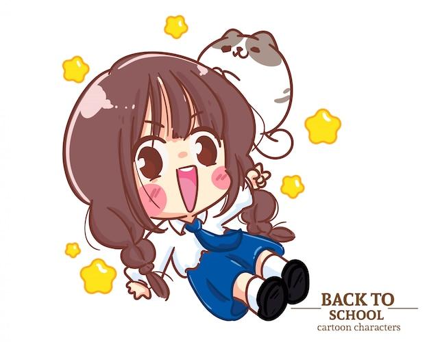 Милый мультфильм детей обратно в школу обратно в школу. карикатура иллюстрации premium векторы
