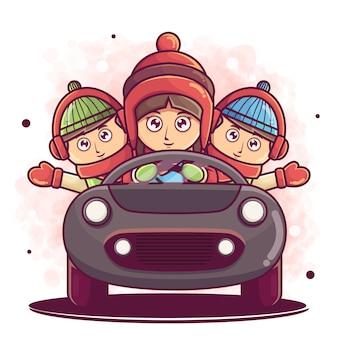 車のイラストを使用してかわいい子供たちの漫画