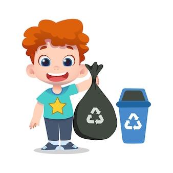 Милый детский персонаж убирает и перерабатывает мусор