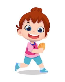 Симпатичный детский персонаж девушка держит хлеб, улыбаясь иллюстрации шаржа