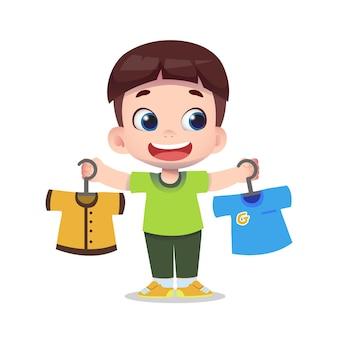 かわいい子供たちのキャラクターの買い物や服の購入