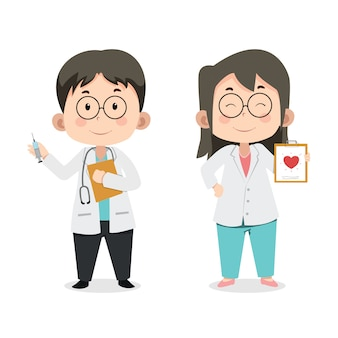 Cute children characters doctor