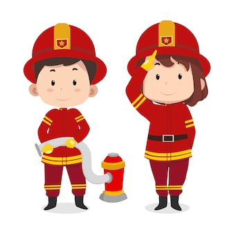 Cute children characters fireman