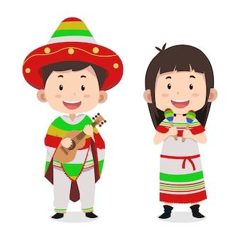 かわいい子供たちのキャラクターメキシコ