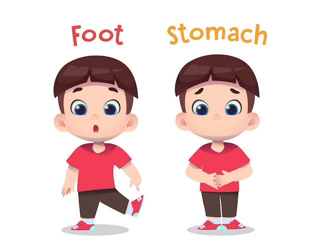 Cute children characters pointing foot and stomach