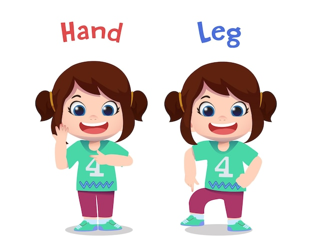 Cute children characters pointing hand and leg
