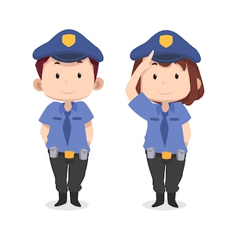 귀여운 어린이 캐릭터 경찰