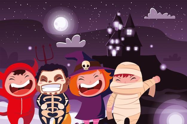 Cute children disguise in scene of halloween