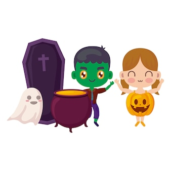 Cute children disguised in halloween