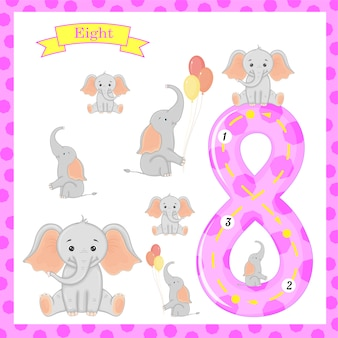 Cute children flashcard number eight tracing with 8 elephants for kids learning.