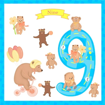 Cute children flashcard number nine tracing for kids learning to count and to write.
